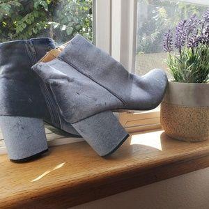 Velvet blue ankle boots size 8